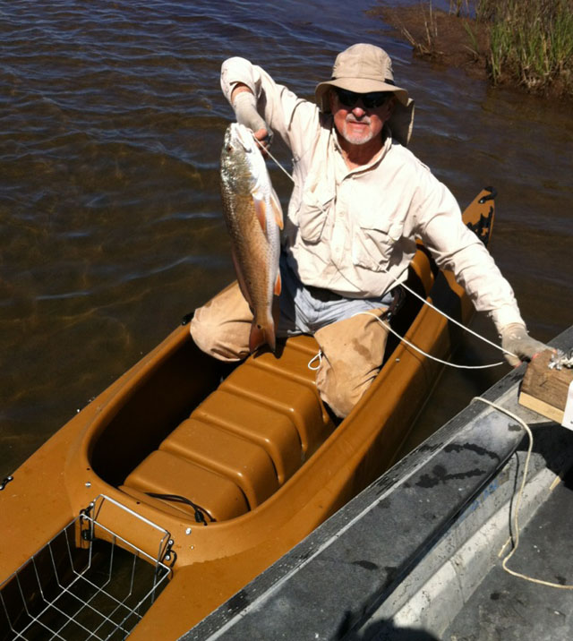big redfish caught in a kayak fishing trip Texas